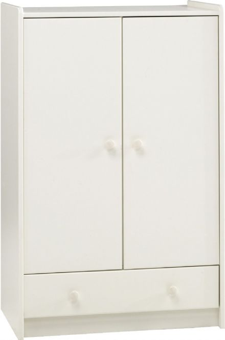 2 Door 1 Drawer Wardrobe White or Pine